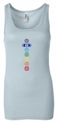 Ladies Yoga Tank Top 7 Colored Chakras Longer Length Tanktop