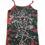 Ladies Yoga Tank Top Sketch Ganesha White Print Tie Dye Camisole