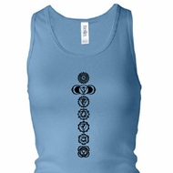 Ladies Yoga Tanktop 7 Chakras Black Print Longer Length Racerback Tank