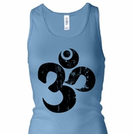 Ladies Yoga Tanktop Black Distressed OM Longer Length Racerback Tank
