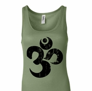 Ladies Yoga Tanktop Black Distressed OM Longer Length Tank Top