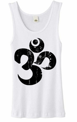 Ladies Yoga Tanktop Black Distressed OM White Organic Tank Top