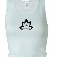 Ladies Yoga Tanktop Black Namaste Lotus Longer Length Racerback Tank