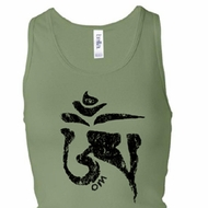 Ladies Yoga Tanktop Black Tibetan Om Longer Length Racerback Tank