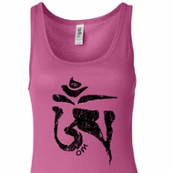 Ladies Yoga Tanktop Black Tibetan Om Longer Length Tank Top