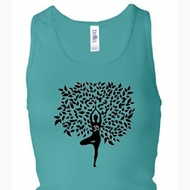 Ladies Yoga Tanktop Black Tree Pose Longer Length Racerback Tank Top