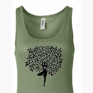 Ladies Yoga Tanktop Black Tree Pose Longer Length Tank Top