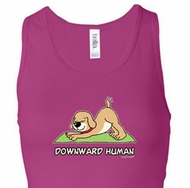 Ladies Yoga Tanktop Downward Human Longer Length Racerback Tank Top
