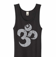 Ladies Yoga Tanktop Grey Distressed OM Black Organic Tank Top