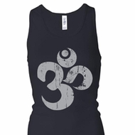 Ladies Yoga Tanktop Grey Distressed OM Longer Length Racerback Tank Top
