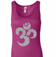 Ladies Yoga Tanktop Grey Distressed OM Longer Length Tank Top