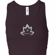 Ladies Yoga Tanktop Grey Namaste Lotus Longer Length Racerback Tank
