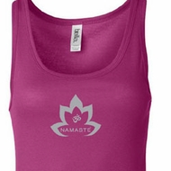 Ladies Yoga Tanktop Grey Namaste Lotus Longer Length Tank Top