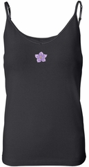 Ladies Yoga Tanktop Layered Flower Patch Built in Bra Tank Top