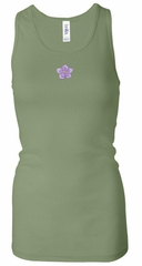 Ladies Yoga Tanktop Layered Flower Patch Longer Length Racerback Tank
