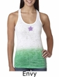 Ladies Yoga Tanktop Layered Flower Patch Ombre Burnout Tank Top