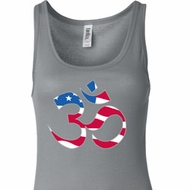 Ladies Yoga Tanktop Patriotic Om Longer Length Tank Top