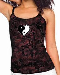 Ladies Yoga Tanktop Yin Yang Heart Small Print Tie Dye Tank Top