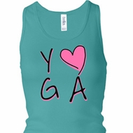 Ladies Yoga Tanktop Yoga Love Longer Length Racerback Tank Top
