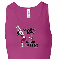Ladies Yoga Tanktop Yoga Now Wine Later Longer Length Racerback Tank