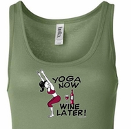 Ladies Yoga Tanktop Yoga Now Wine Later Longer Length Tank Top