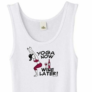 Ladies Yoga Tanktop Yoga Now Wine Later White Organic Tank Top
