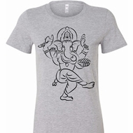 Ladies Yoga Tee Black Sketch Ganesha Longer Length Shirt