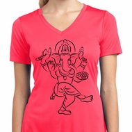 Ladies Yoga Tee Black Sketch Ganesha Moisture Wicking V-neck