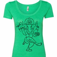 Ladies Yoga Tee Black Sketch Ganesha Scoop Neck Shirt