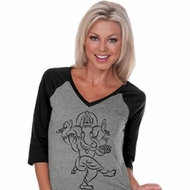 Ladies Yoga Tee Black Sketch Ganesha V-neck Raglan