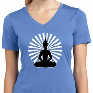 Ladies Yoga Tee Meditating Buddha Moisture Wicking V-neck