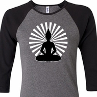 Ladies Yoga Tee Meditating Buddha Raglan Shirt