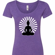 Ladies Yoga Tee Meditating Buddha Scoop Neck