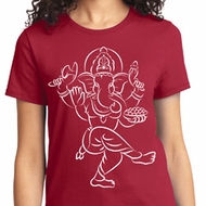 Ladies Yoga Tee Sketch Ganesha White Print T-Shirt