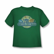 Land Before Time Shirt Kids Retro Logo Kelly Green Youth Tee T-Shirt