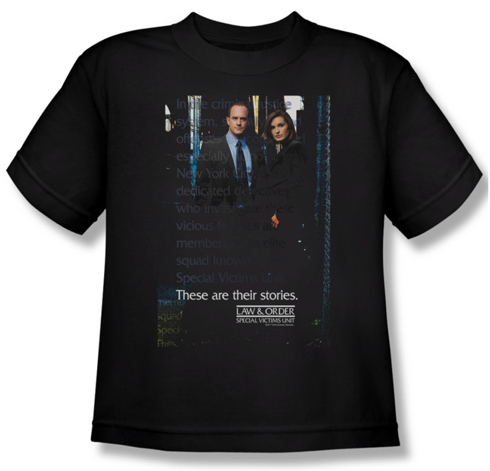 Law order svu shirt kids svu black youth tee t shirt for Order shirts with logo
