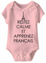 Learn French Funny Baby Romper Light Pink Infant Babies Creeper