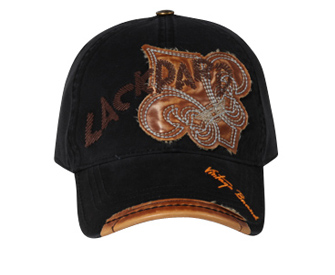 Leather Patches Embroidered Hat Lackpard Cap Black