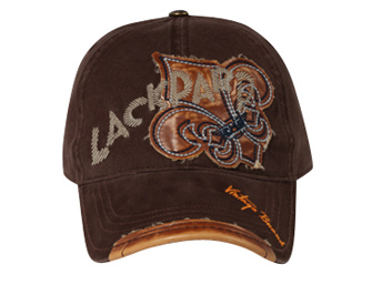 Leather Patches Embroidered Hat Lackpard Cap Dark