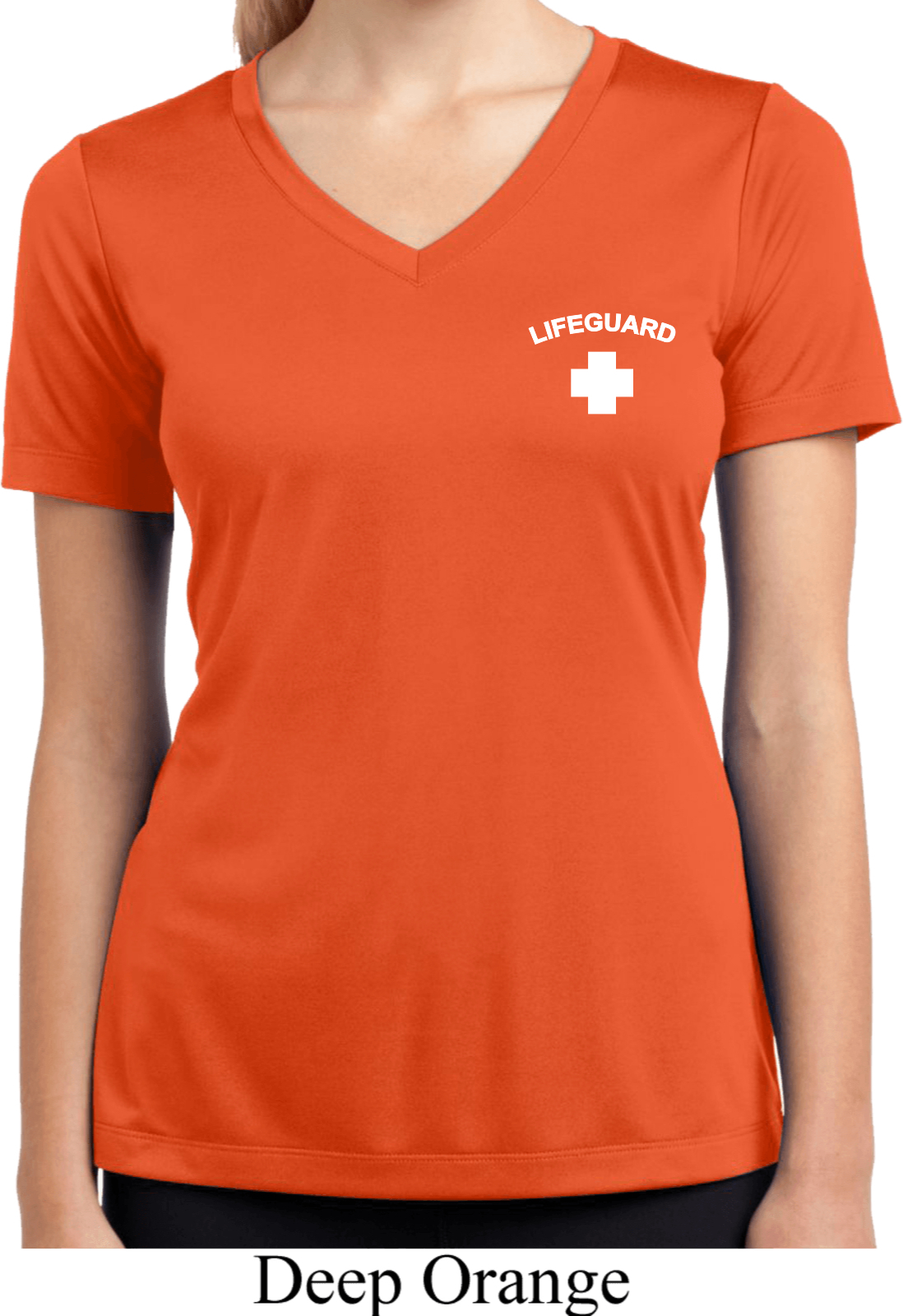 Lifeguard Pocket Print Ladies Moisture Wicking V Neck