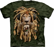 Lion Shirt Funny DJ Jahman T-shirt Tie Dye Adult Green Tee