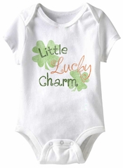 Little Lucky Charm Funny Baby Romper White Infant Babies Creeper