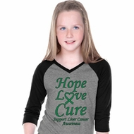 Liver Cancer Hope Love Cure Girls V-neck Raglan