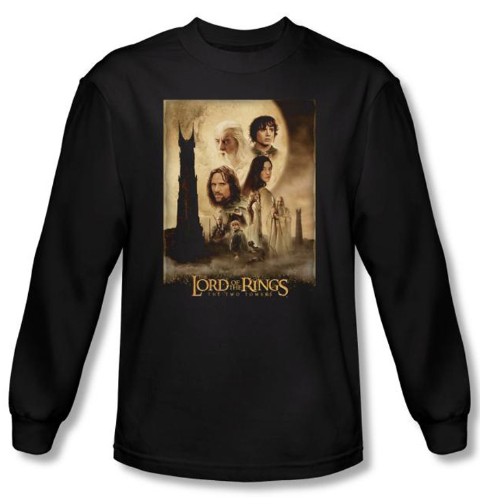 Lord Of The Rings T Shirt Towers Movie Poster Black Long