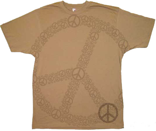 lots of peace shirt adult khaki brown tee tie dye t shirts. Black Bedroom Furniture Sets. Home Design Ideas