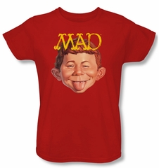Mad Magazine Ladies Shirt Absolutely Mad Red Tee T-Shirt