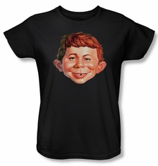 Mad Magazine Ladies Shirt Alfred Head Black Tee T-Shirt