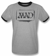 Mad Magazine Ringer Shirt Stencil Adult Heather Black Tee T-Shirt