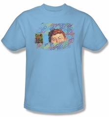 Mad Magazine Shirt Peeking Adult Light Blue Tee T-Shirt
