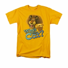 Madagascar Shirt Who's The Cat Adult Gold Tee T-Shirt